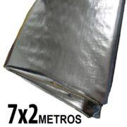 Lona 7,0 x 2,0m Loneiro 300 Micras Metalizada de um lado e Branca do outro sem acabamento para estufa grow jardim cultivo indoor de plantas