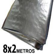Lona 8,0 x 2,0m Loneiro 300 Micras Metalizada de um lado e Branca do outro sem acabamento para estufa grow jardim cultivo indoor de plantas