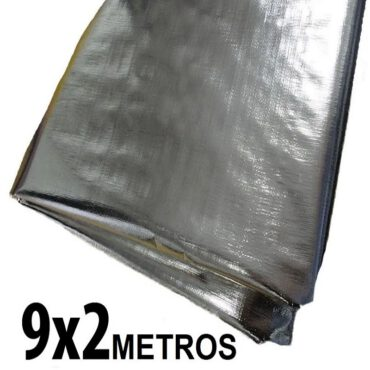 Lona 9,0 x 2,0m Loneiro 300 Micras Metalizada de um lado e Branca do outro sem acabamento para estufa grow jardim cultivo indoor de plantas