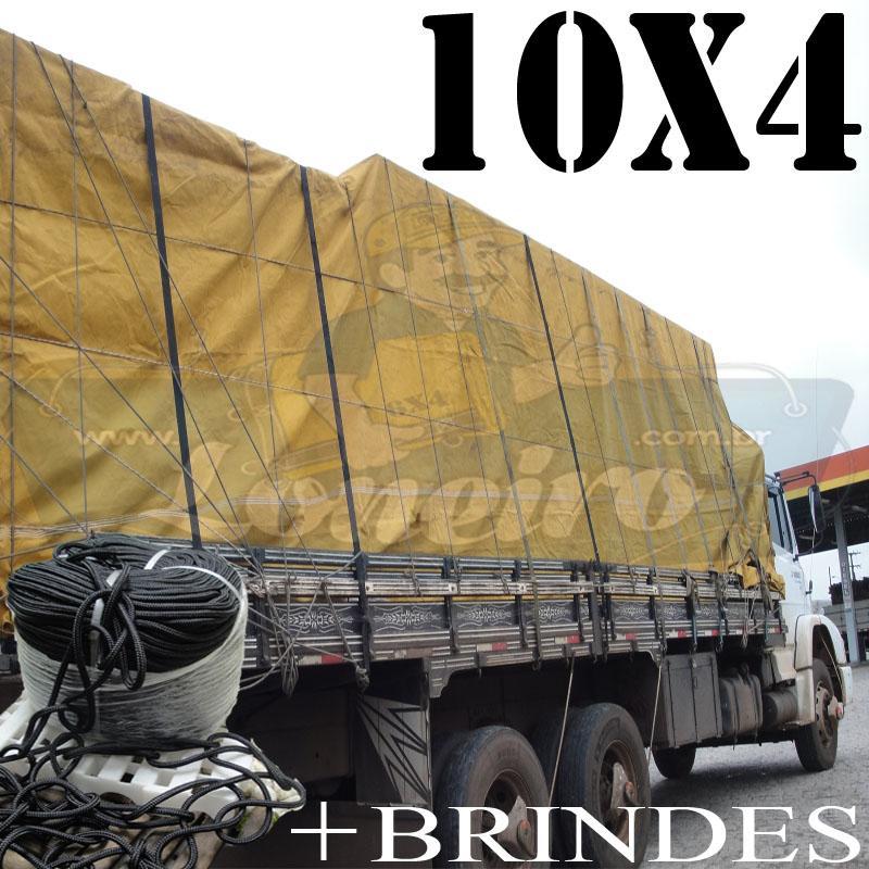Lona: 10,0 x 4,0m Encerado para Caminhão Truck + Ilhoses com 50m de Corda Preta 10mm + 50m Corda 8mm de brinde!