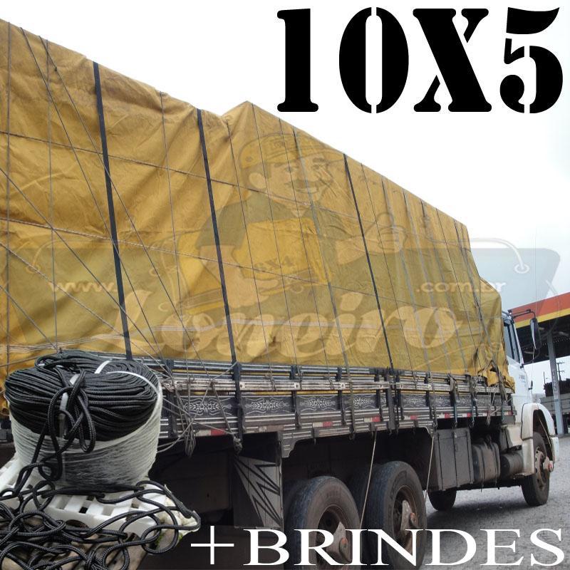 Lona: 10,0 x 5,0m Encerado para Caminhão Truck + Ilhoses com 50m de Corda Preta 10mm + 50m Corda 8mm de brinde!