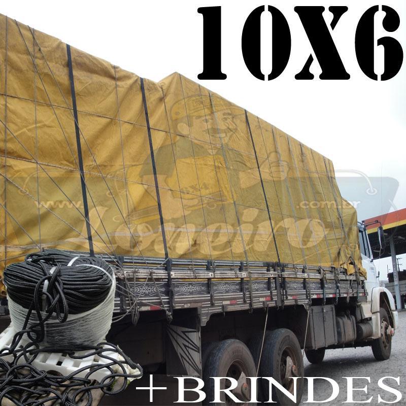 Lona: 10,0 x 6,0m Encerado para Caminhão +Ilhoses + 60m de Corda Preta 10mm + 60m Corda 8mm de brinde para segurar a carga!