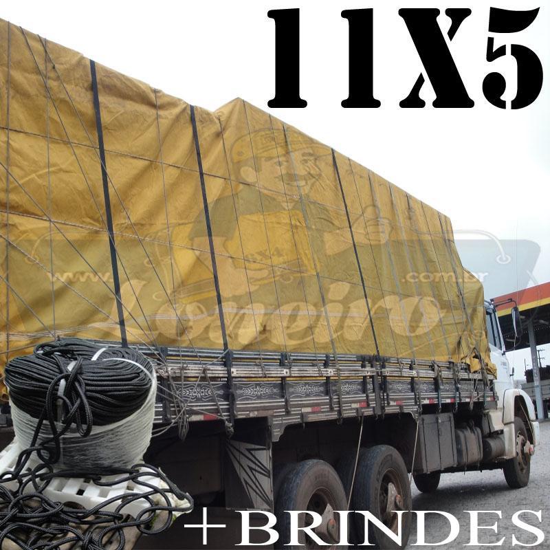 Lona: 11,0 x 5,0m Encerado para Caminhão + Ilhoses + 60m de Corda Preta 10mm + 60m Corda 8mm para amarrar a carga de brinde!