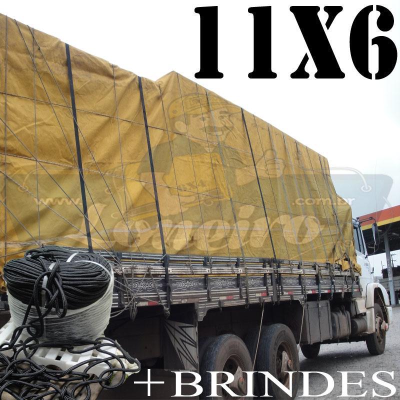 Lona: 11,0 x 6,0m Encerado para Caminhão +Ilhoses + 70m de Corda Preta 10mm + 70m Corda 8mm de brinde para amarrar carga