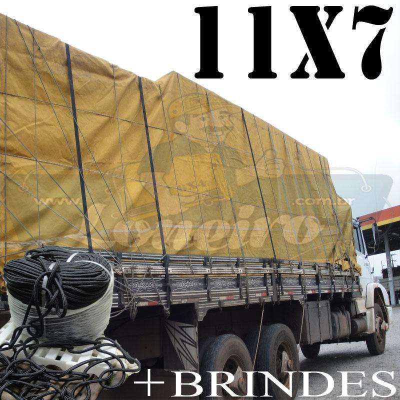 Lona: 11,0 x 7,0m Encerado para Caminhão +Ilhoses + 80m de Corda Preta 10mm + 80m Corda 8mm de brinde para amarração!