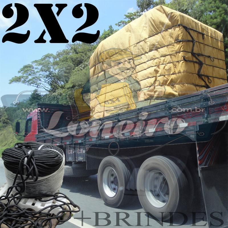 Lona 2,0 x 2,0m Encerado para Caminhão +Ilhoses + 5m de Corda Preta 10mm + 10m de Corda 8mm