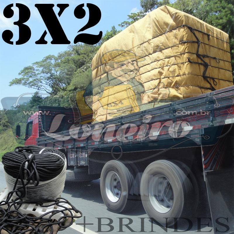 Lona 3,0 x 2,0m Encerado para Caminhão + 4 Ilhoses + 10m de Corda Preta 10mm + 10m Corda 8mm de brinde!