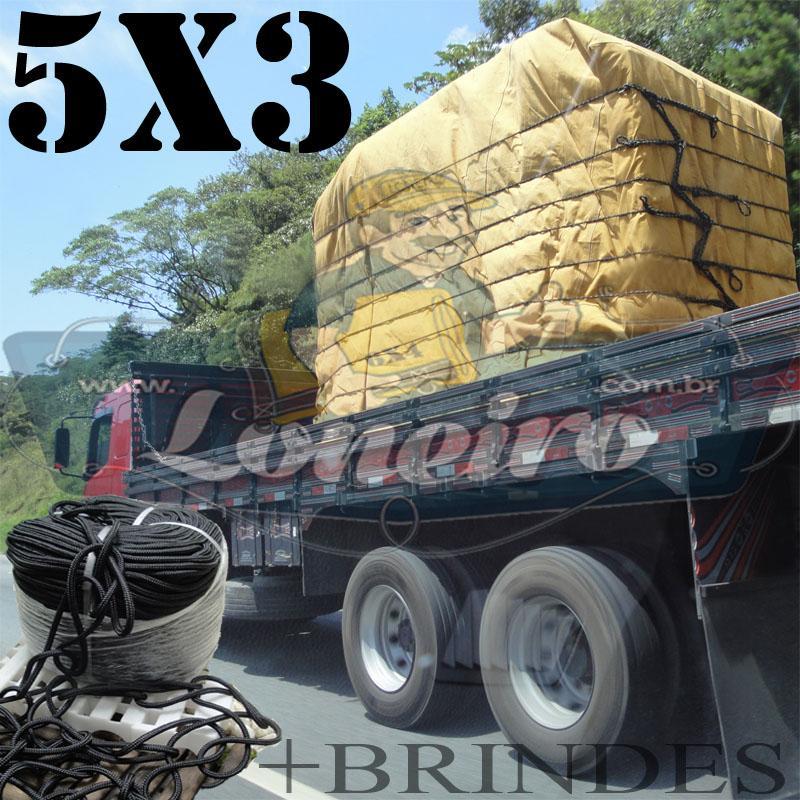 Lona 5,0 x 3,0m Encerado para Caminhão +Ilhoses + 20m de Corda Preta 10mm + 20m Corda 8mm de brinde!