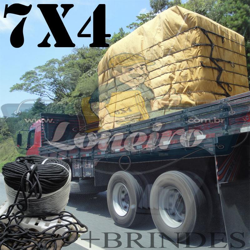 Lona 7,0 x 4,0m Encerado para Caminhão Truck +Ilhoses + 30m de Corda Preta 10mm + 30m Corda 8mm de brinde para amarrar a carga!