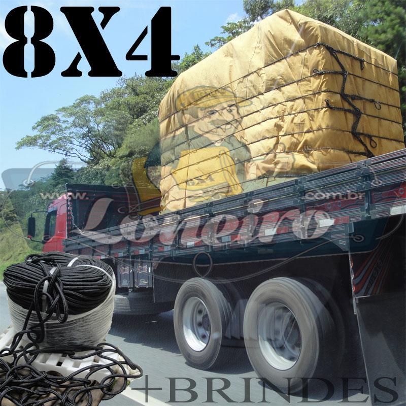 Lona 8,0 x 4,0m Encerado para Caminhão Truck + Ilhoses com 40 metros de Corda Preta 10mm + 40 metros Corda 8mm de brinde!