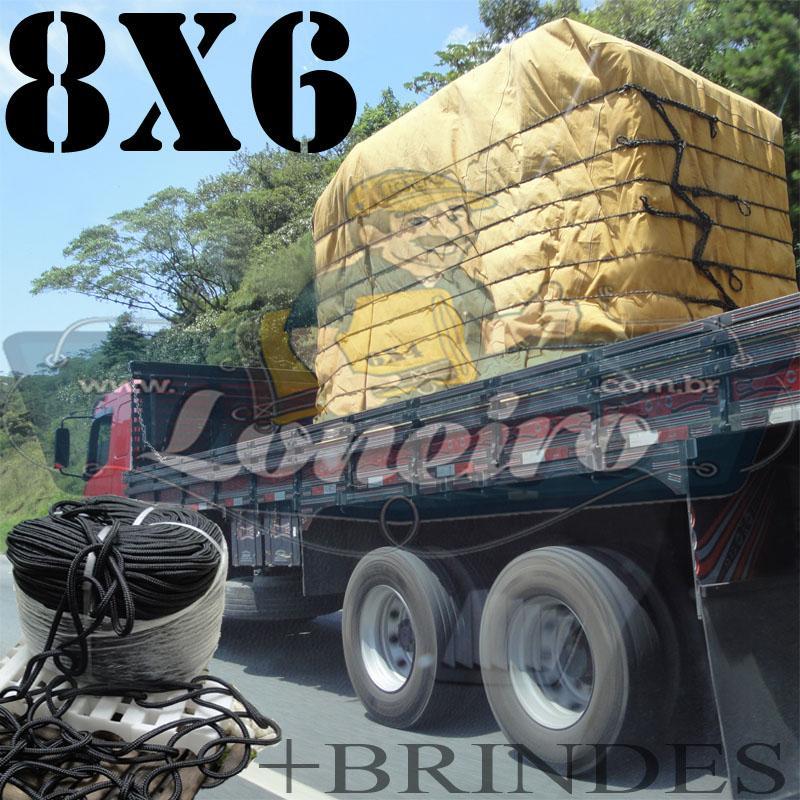 Lona 8,0 x 6,0m Encerado para Caminhão Truck + Ilhoses + 50m de Corda Preta 10mm + 50m Corda 8mm de brinde!