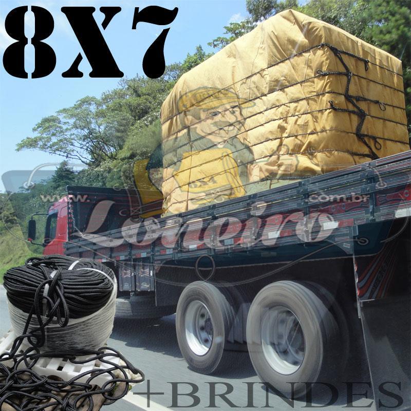 Lona 8,0 x 7,0m Encerado para Caminhão +Ilhoses + 60m de Corda Preta 10mm + 60m Corda 8mm de brinde!