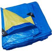 Lona 5,0 x 4,0m Azul e Amarela 150 Micra + ilhos e cantoneiras para cobertura proteção capa básica de polietileno impermeável com duas cores