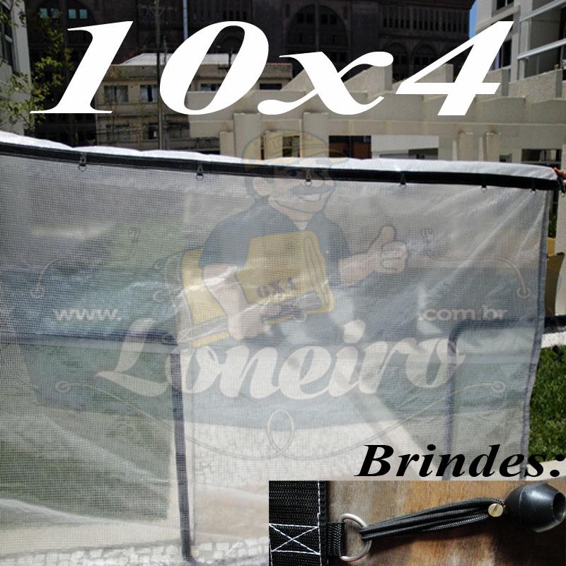 Lona: 10,0 x 4,0m Transparente 400 Micras Plástica Crystal Argolas + 40 metros Corda 4mm!