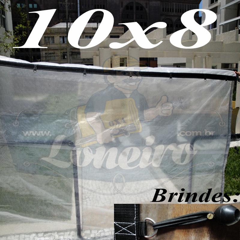 Lona: 10,0 x 8,0m Transparente 400 Micras Plástica Crystal Argolas com 36 elásticos lonaflex 30cm + 40m Corda 4mm!