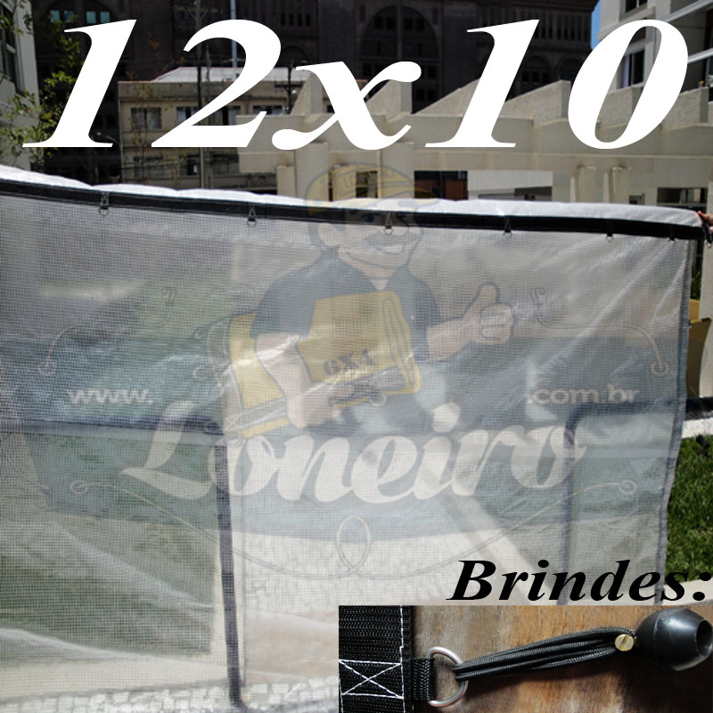 Lona: 12,0 x 10,0 Transparente 400 Micras Plástica Crystal Argolas com + 50 metros Corda 6mm!