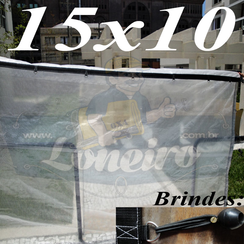 Lona: 15,0 x 10,0 Transparente 400 Micra Plástica Crystal Argolas + 60 metros Corda 6mm!