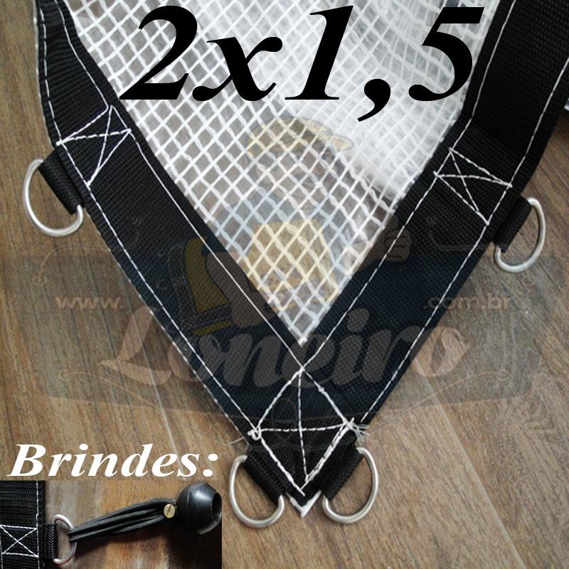 Lona 2,0 x 1,5m Transparente 400 Micras Plástica Crystal Argolas com 12 elásticos lonaflex 15cm