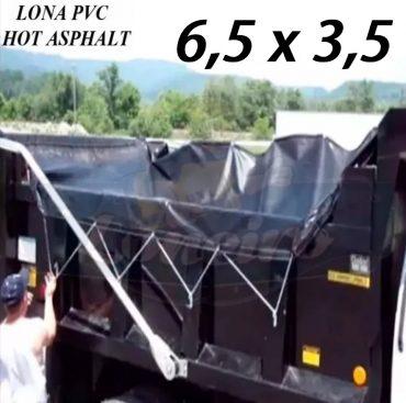 Lona 6,5 x 3,5m PVC HOT ASPHALT RESISTÊNCIA de + 200°C Caminhão Vinil Preto Fosco Transporte Massa Asfalto Quente CBUQ + Extensores Elásticos
