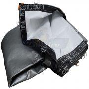Lona pppe 500 micra branca prata cinza argolas D inox cinta preta reforço reforçada durabilidade alta resistente loneiro
