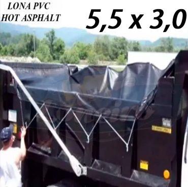 Lona 5,5 x 3,0m PVC HOT ASPHALT RESISTÊNCIA de + 200°C Caminhão Vinil Preto Fosco Transporte Massa Asfalto Quente CBUQ + Extensores Elásticos