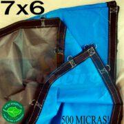 Lona 7,0 x 6,0m Loneiro 500 Micras PPPE Azul e Cinza com argolas