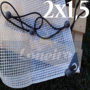 Lona 2,0 x 1,5m Transparente 300 Micras Plástica Impermeável + Ilhoses a cada metro com 8 Elásticos LonaFlex 30cm de brinde!