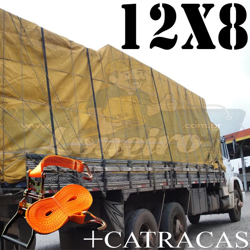 Lona: 12,0 x 8,0m Encerado para Caminhão +Ilhoses + 4 Catracas de 9,0m x 50mm para 3000kg de força + 100m Corda 8mm de brinde!