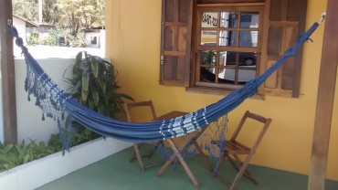Rede de Descanso Azul Escuro Artesanal com 4 metros Casal - Pernambucana Modelo de Franja Tradicional Feita em Algodão Tear