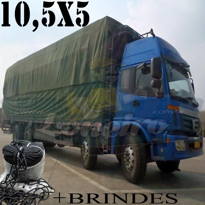 Lona: 10,5 x 5,0m Cotton Encerado RipStop Algodão Verde + Corda Preta 50m Poliéster Estática 10mm + 50m Corda 8mm com 1 ROW ,75m