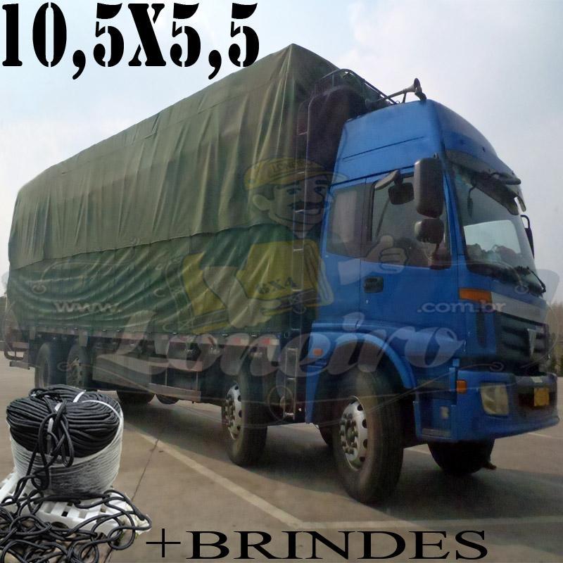 Lona: 10,5 x 5,5m Cotton Encerado RipStop Algodão Verde Caminhão Triminhão + Corda Preta 60m 10mm + 60m Corda 8mm com 1 ROW 0,75m