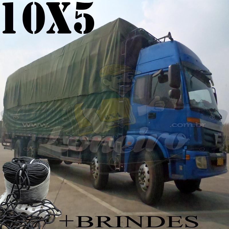 Lona: 10,0 x 5,0m Encerado RipStop Cotton Algodão Verde + Corda Preta 50m Poliéster Estática 10mm + 50m Corda 8mm com 1 ROW 0,75m