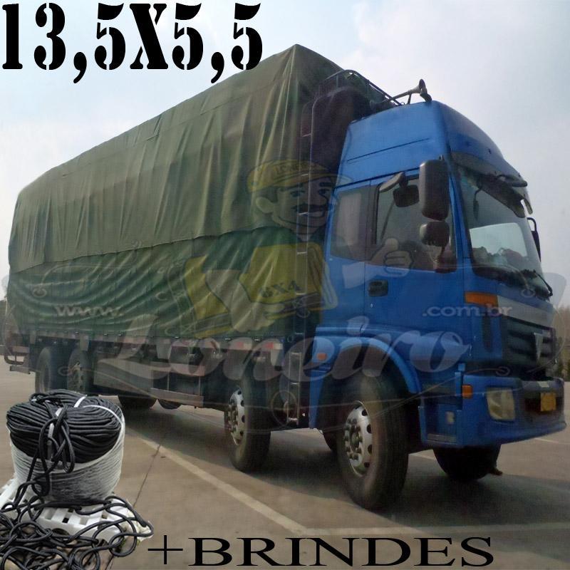 Lona: 13,5 x 5,5m Cotton Encerado RipStop Algodão Verde + Corda Preta 70m Poliéster Estática 10mm + 70m Corda 8mm com 1 ROW 0,75m