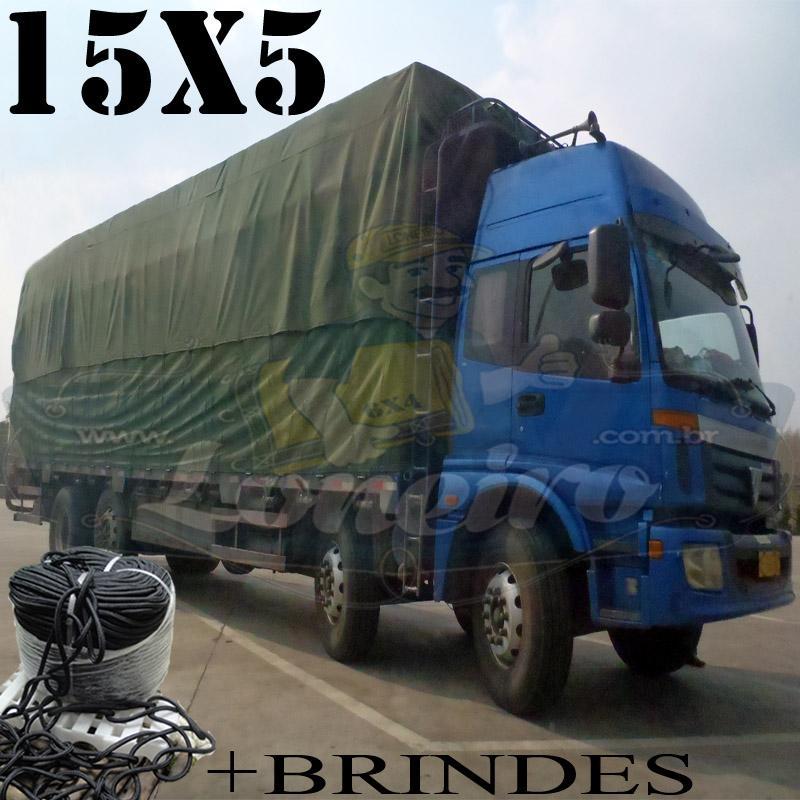 Lona: 15,0 x 5,0m Cotton Encerado RipStop Algodão Verde +Corda Preta 70m Poliéster Estática 10mm + 70m Corda 8mm com 1 ROW 0,75m