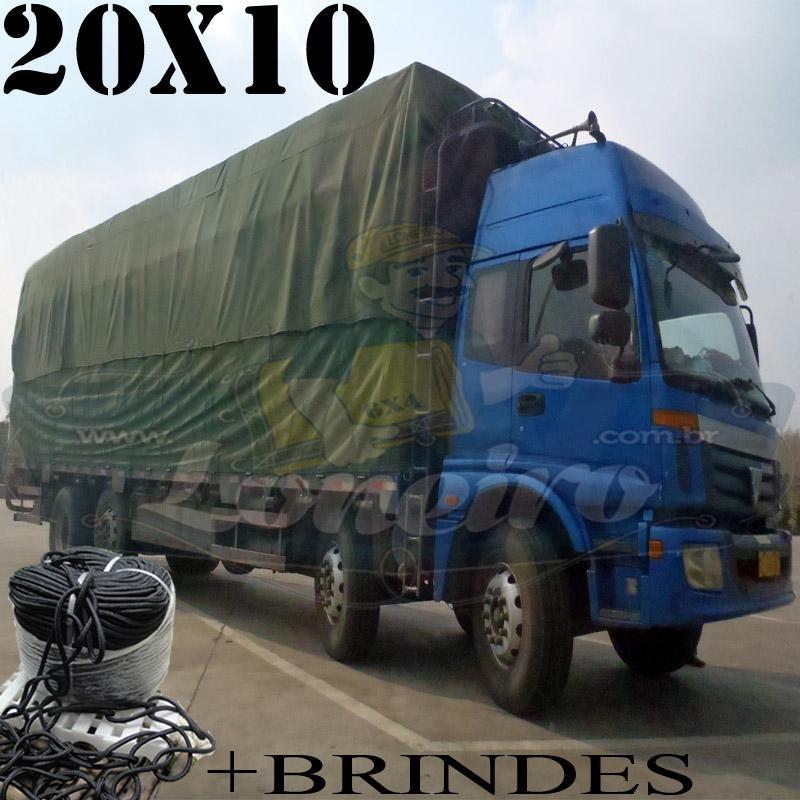 Lona: 20,0 x 10,0m Cotton Encerado RipStop Algodão Verde + Corda Preta 150m Poliéster Estática 10mm + 150m Corda 8mm com 1 ROW 0,75m