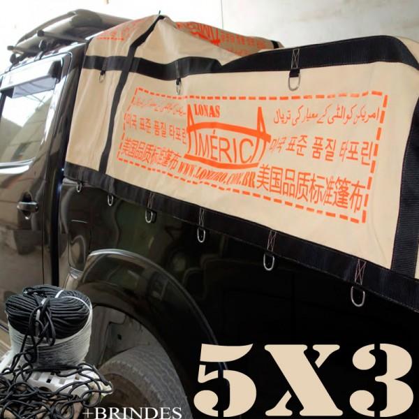 Lona 5,0 x 3,0m Cotton Encerado RipStop Algodão Areia +Corda Preta 15m Poliéster Estática 10mm com 1 ROW 0,35m