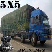 Lona 5,0 x 5,0m Cotton Encerado RipStop Algodão Verde + Corda Preta 20m Poliéster Estática 10mm com 1 ROW 0,35m
