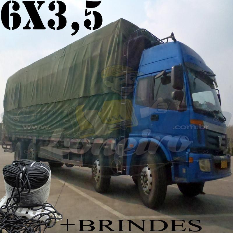 Lona 6,0 x 3,5m Cotton Encerado RipStop Algodão Verde para Caminhão Basculante Toco +Corda Preta 20mts com 1 ROW 0,35m + 20m Corda 8mm