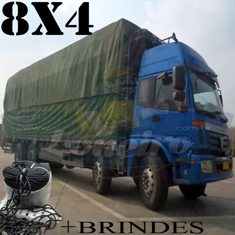 Lona 8,0 x 4,0m Encerado RipStop Coton Algodão Verde +Corda Preta 40m Poliéster Estática 10mm + 40m Corda 8mm com 1 ROW 0,35m