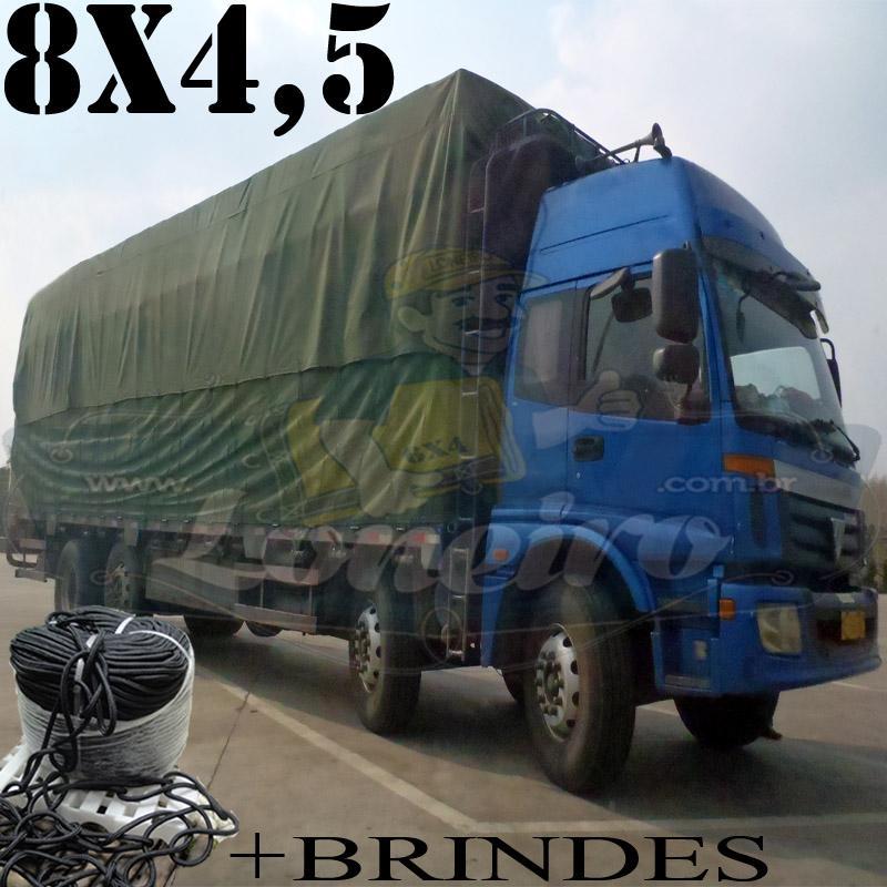 Lona 8,0 x 4,5m Cotton Encerado RipStop Algodão Verde + Corda Preta 40m Poliéster Estática 10mm + 40m Corda 8mm com 1 ROW 0,75m