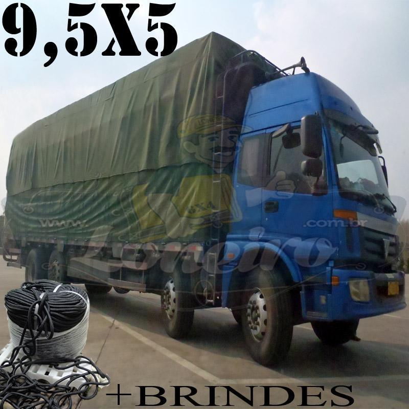 Lona 9,5 x 5,0m Cotton Encerado RipStop Algodão Verde Caminhão Rodotrem + Corda Preta 50m Poliéster Estática 10mm + 50m Corda 8mm com 1 ROW 0,75m
