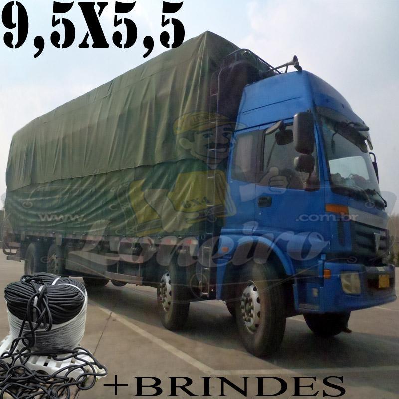 Lona 9,5 x 5,5m Cotton Encerado RipStop Algodão Verde + Corda Preta 50m Poliéster Estática 10mm + 50m Corda 8mm com 1 ROW 0,75m