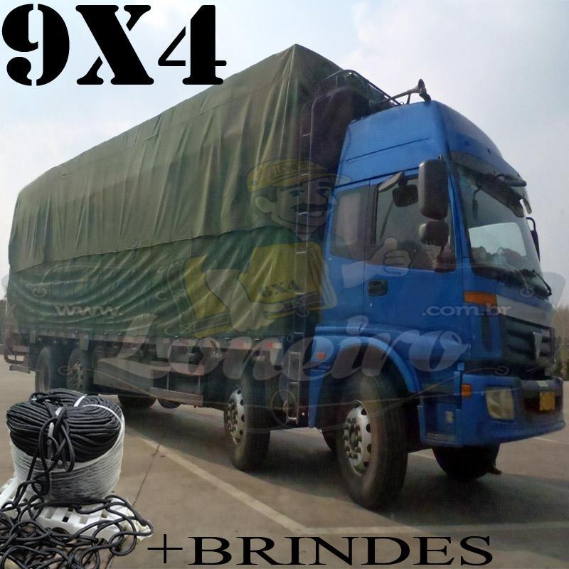 Lona 9,0 x 4,0m Cotton Encerado RipStop Algodão Verde + Corda Preta 40m Poliéster Estática 10mm + 40m Corda 8mm com 1 ROW 0,35m