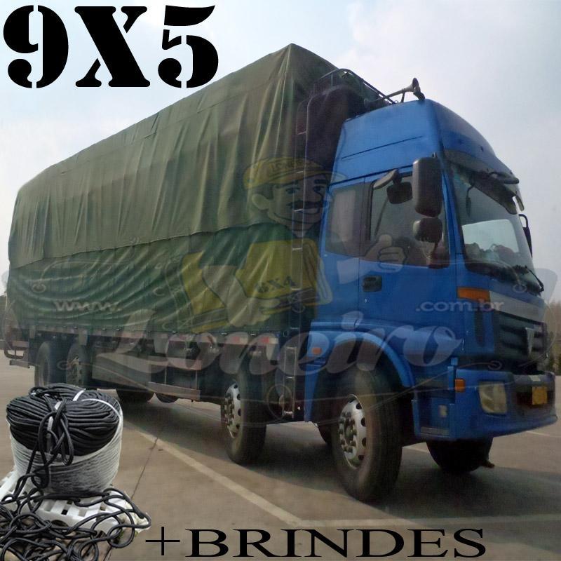 Lona 9,0 x 5,0m Encerado RipStop Cotton Premium Algodão Verde + Corda Preta 50m Poliéster Estática 10mm + 50m Corda 8mm com 1 ROW 0,75m