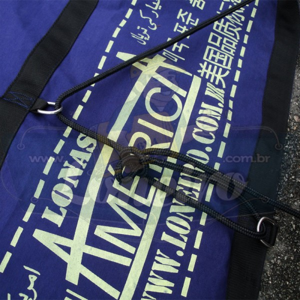 Lona: 15,5 x 5,5m Cotton Encerado RipStop Algodão Azul +Corda Preta 80m Poliéster Estática 10mm + 80m Corda 8mm com 1 ROW 0,75m
