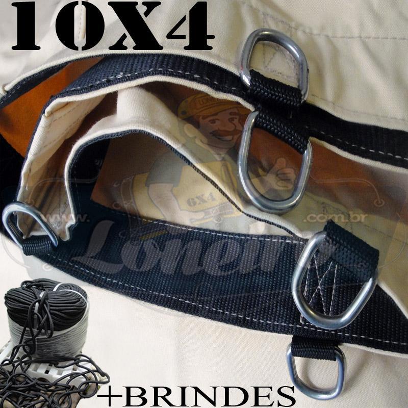 Lona: 10,0 x 4,0m Encerado RipStop Coton Algodão Areia + Corda Preta 50m Poliéster Estática 10mm + 50m Corda 8mm com 1 ROW 0,35m