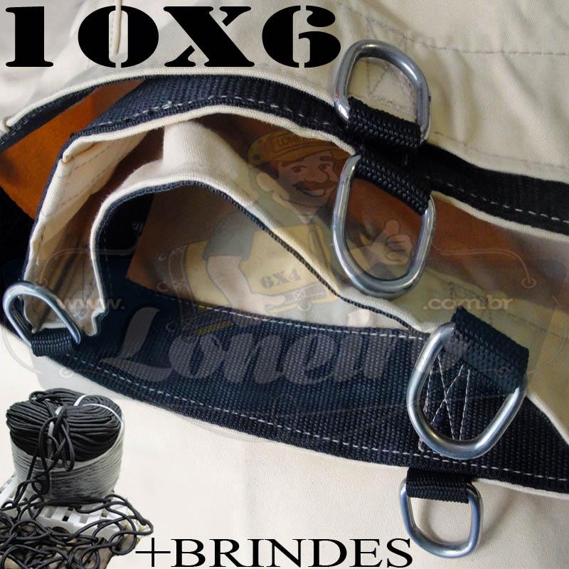 Lona: 10,0 x 6,0m Encerado RipStop Cotton Algodão Areia + Corda Preta 60m Poliéster Estática 10mm + 60m Corda 8mm com 1 ROW 0,75m