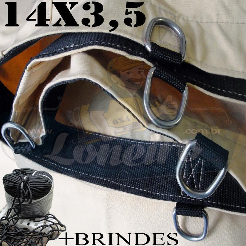 Lona: 14,0 x 3,5m Cotton Encerado RipStop Algodão Areia para Caminhão Carreta 3 eixos + Corda Preta 50m 10mm + 50m Corda 8mm