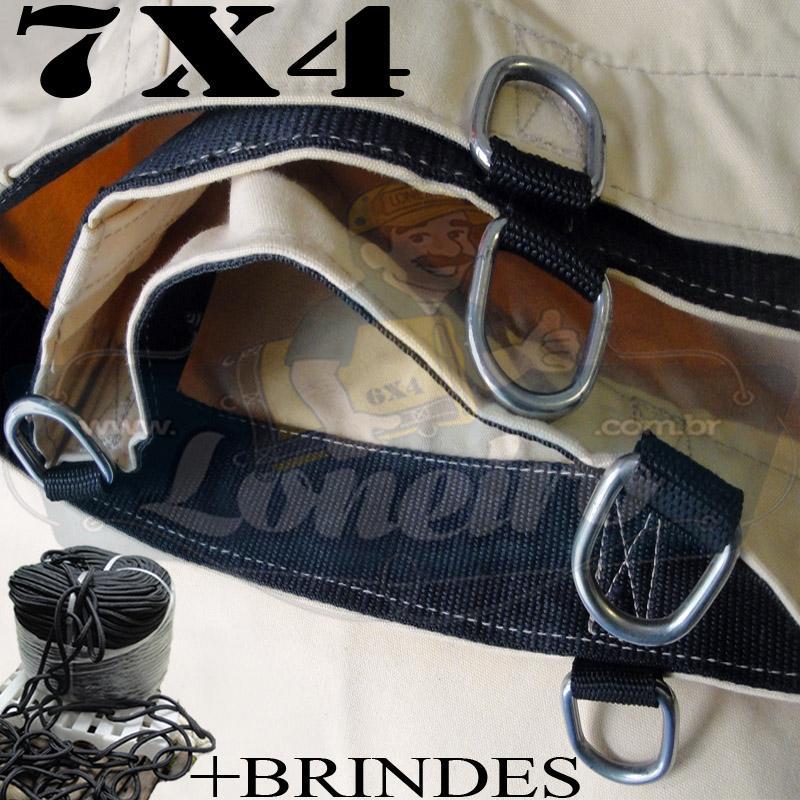 Lona 7,0 x 4,0m Encerado RipStop Coton Algodão Areia + Corda Preta 30m Poliéster Estática 10mm + Corda 30m 8mm com 1 ROW 0,35m