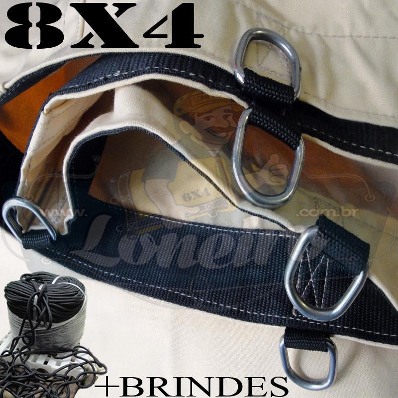 Lona 8,0 x 4,0m Encerado RipStop Coton Algodão Areia + Corda Preta 40m Poliéster Estática 10mm + 40m Corda 8mm com 1 ROW 0,35m